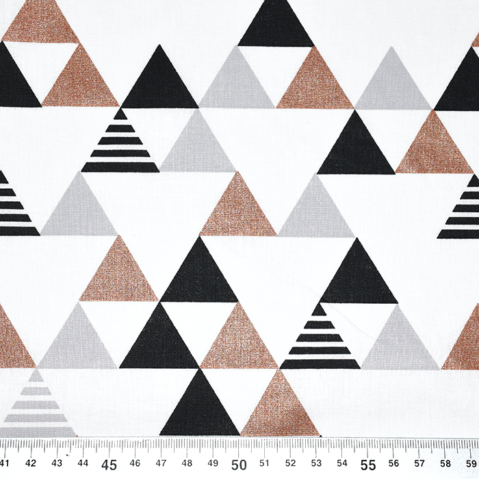 Bombaž, poplin, geometrijski, 20800, metallic