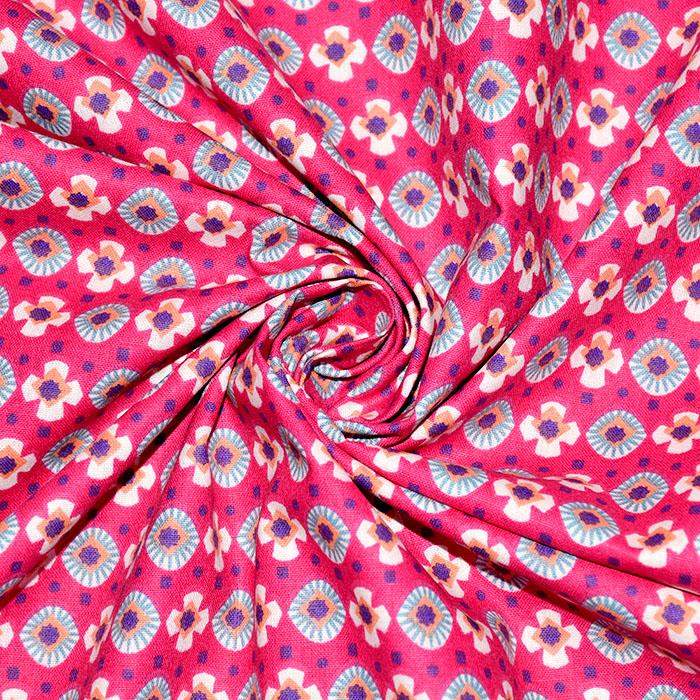 Bombaž, poplin, geometrijski, 20812-1, roza