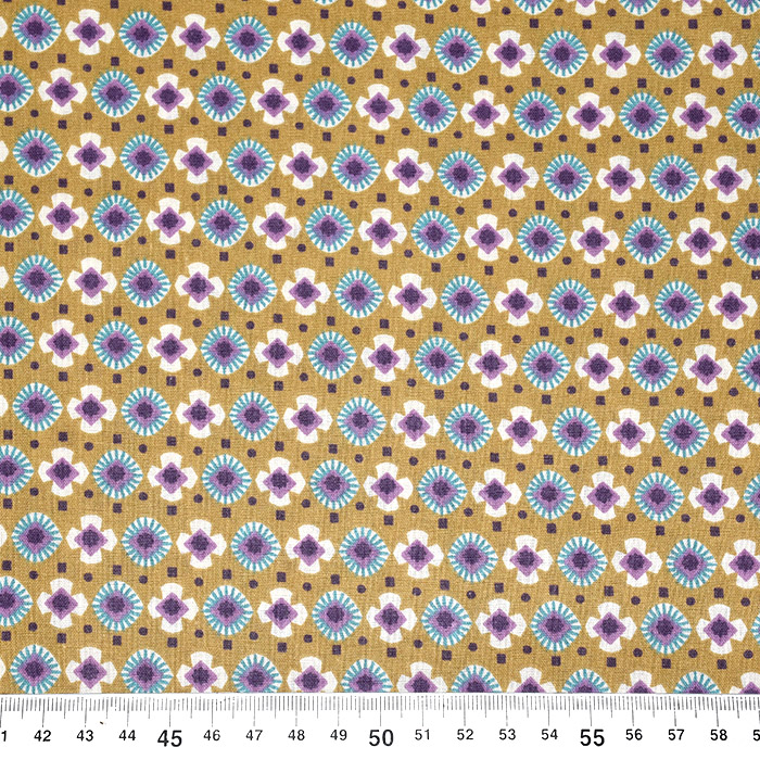 Bombaž, poplin, geometrijski, 20812-2, oker