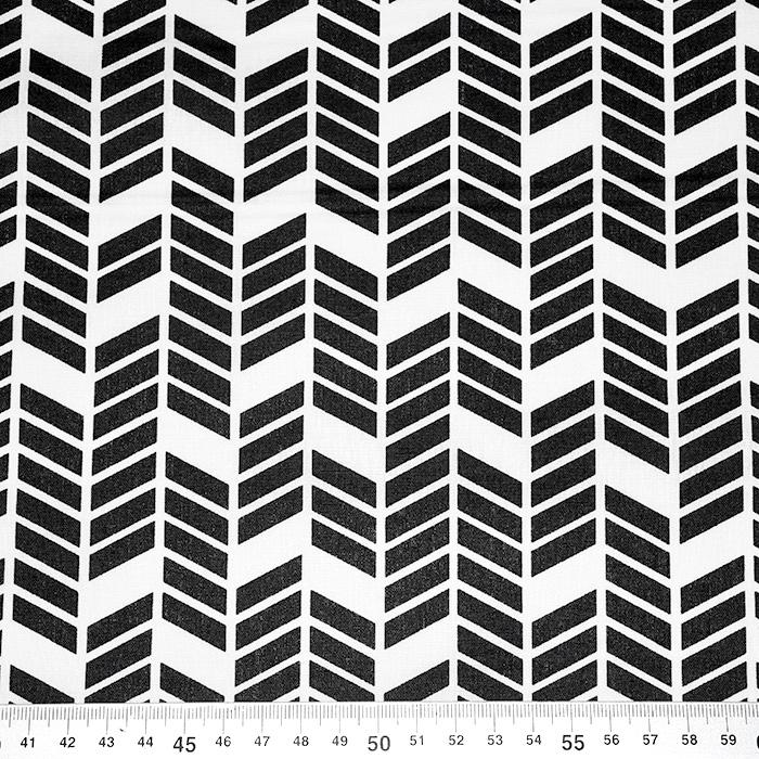 Bombaž, poplin, geometrijski, 20819-2, črna