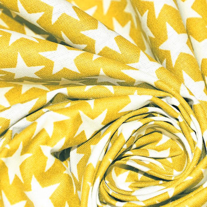 Bombaž, poplin, zvezde, 20825-5, rumena