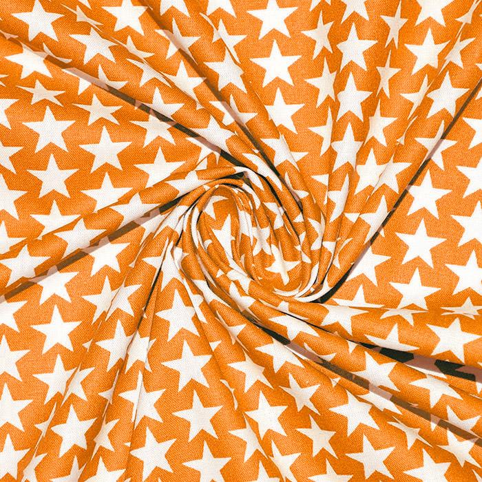 Pamuk, popelin, zvijezde, 20825-8, narančasta