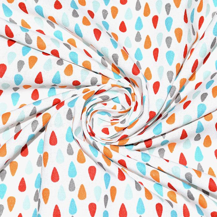 Bombaž, poplin, solze, 20842-4, modro oranžna
