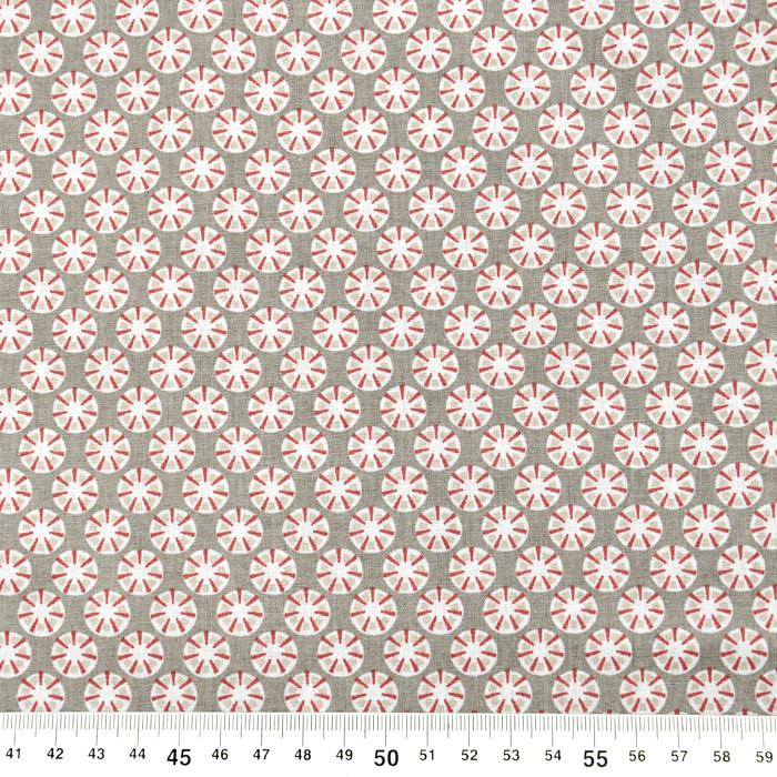 Bombaž, poplin, cvetlični, 20847-3, siva