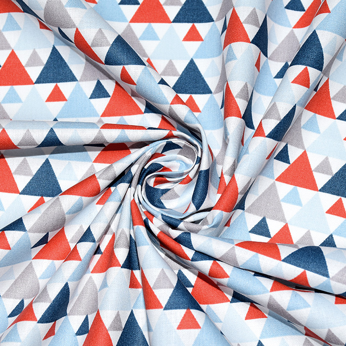 Bombaž, poplin, geometrijski, 20855-2, rdeče modra