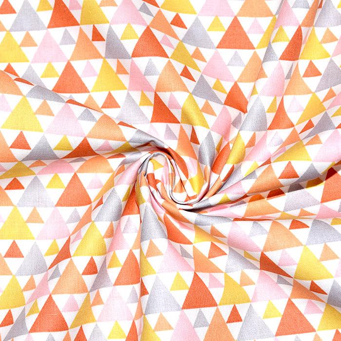 Bombaž, poplin, geometrijski, 20855-3, oranžno rumena