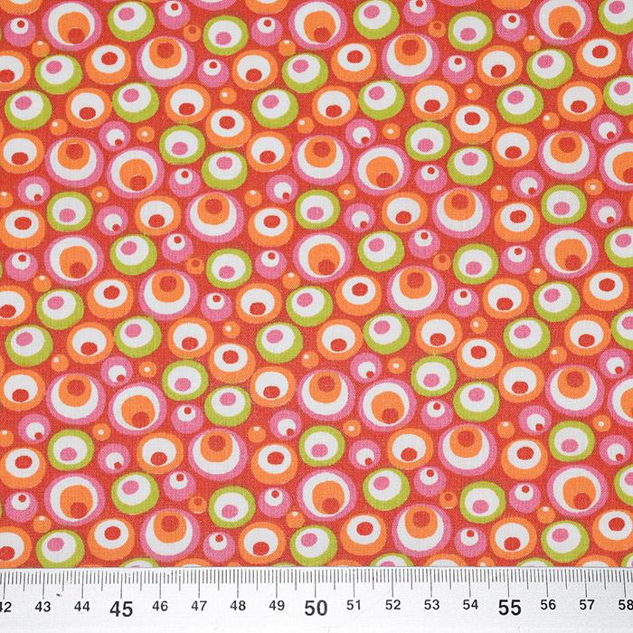 Bombaž, poplin, krogci, 20856-2, rdeče zelena