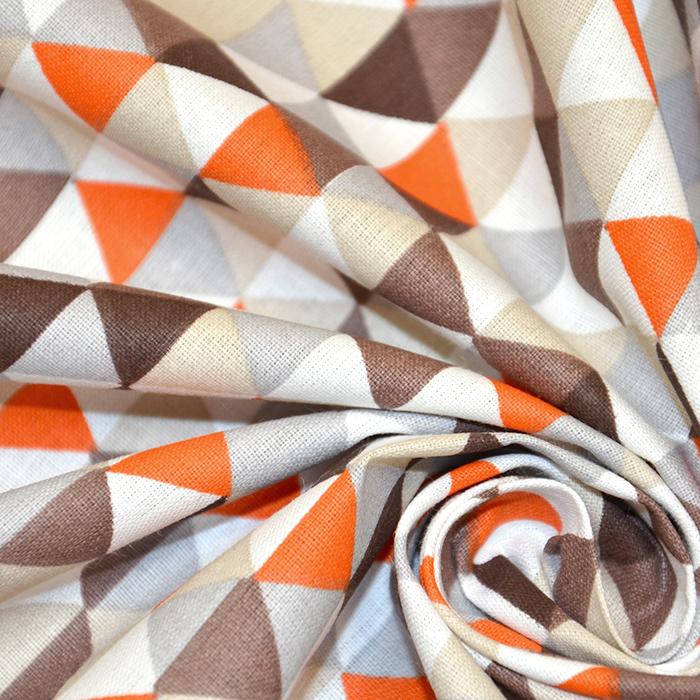 Pamuk, popelin, geometrijski, 20861-5, smeđa