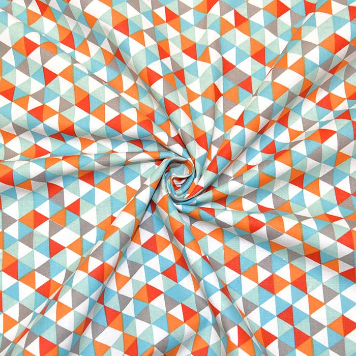 Bombaž, poplin, geometrijski, 20861-6, mint