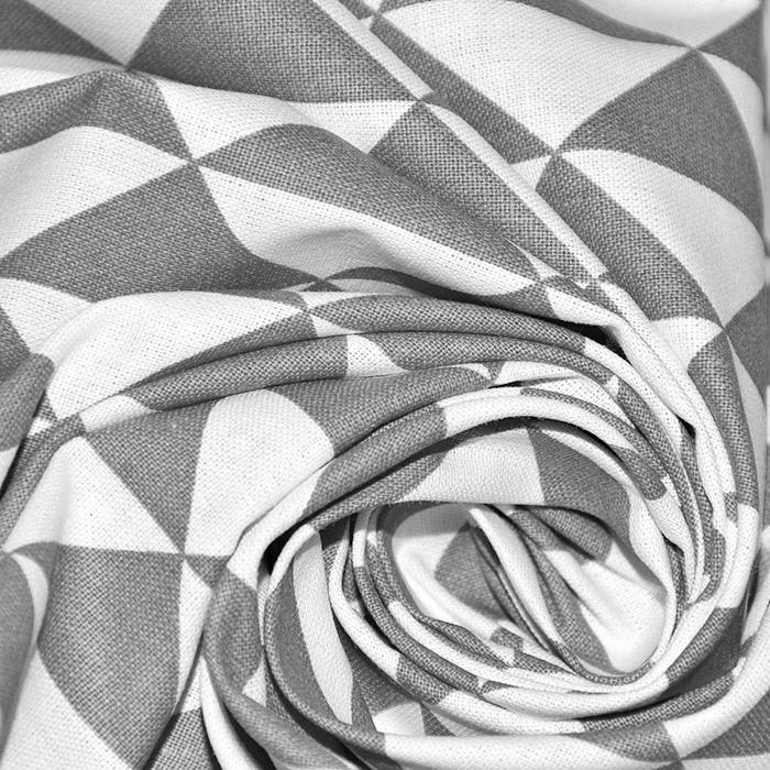 Bombaž, poplin, geometrijski, 20863-2, temno siva