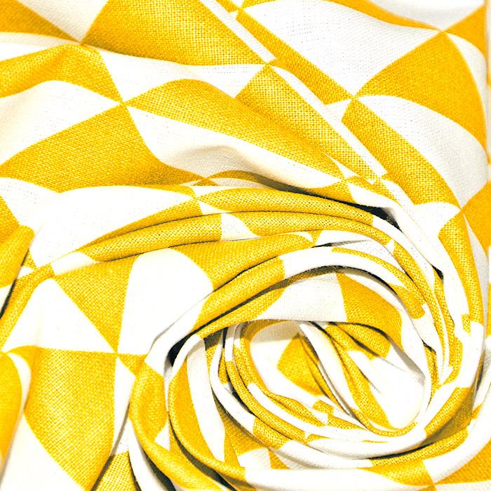 Bombaž, poplin, geometrijski, 20863-5, rumena