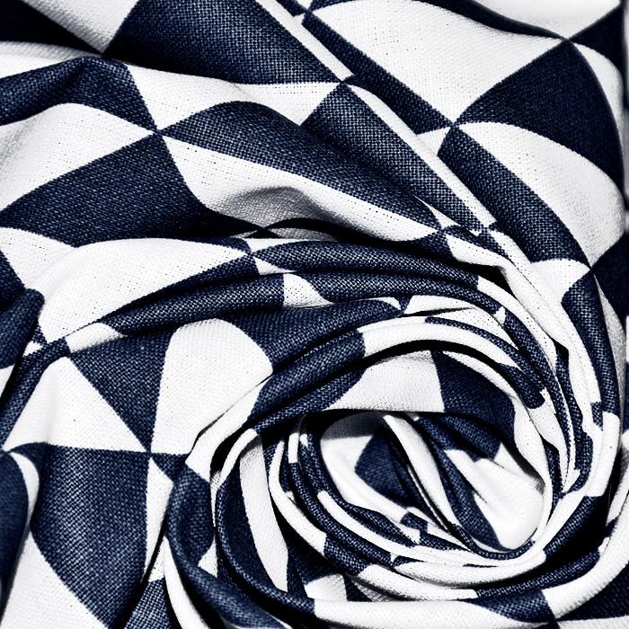 Bombaž, poplin, geometrijski, 20863-6, temno modra