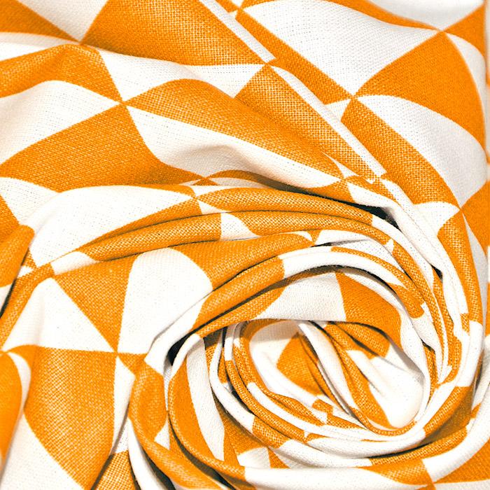 Bombaž, poplin, geometrijski, 20863-8, oranžna