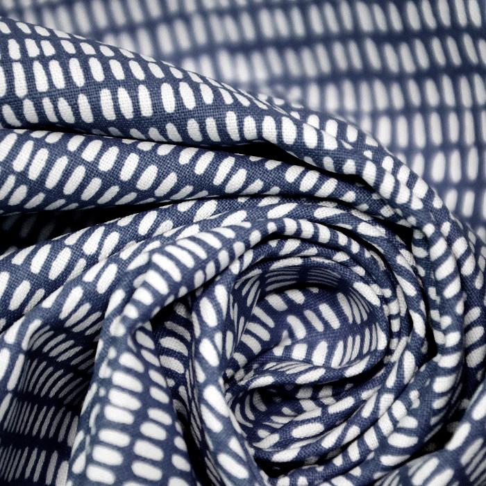 Bombaž, poplin, tisk, 20869-2, temno modra