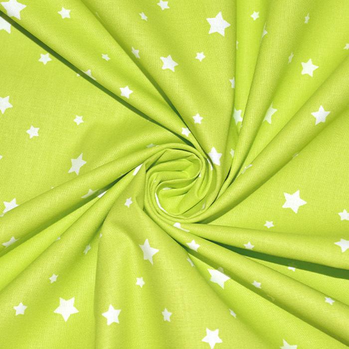 Bombaž, poplin, zvezde, 20871-1, zelena