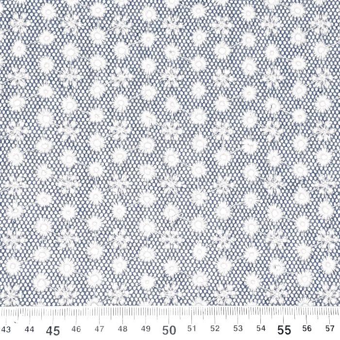 Čipka na mrežici, vezenina, 20872-5028, modra