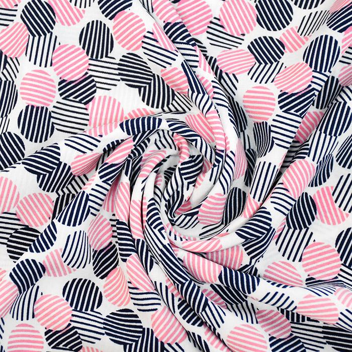 Tkanina, tanjša, krogci, 20970-013, roza