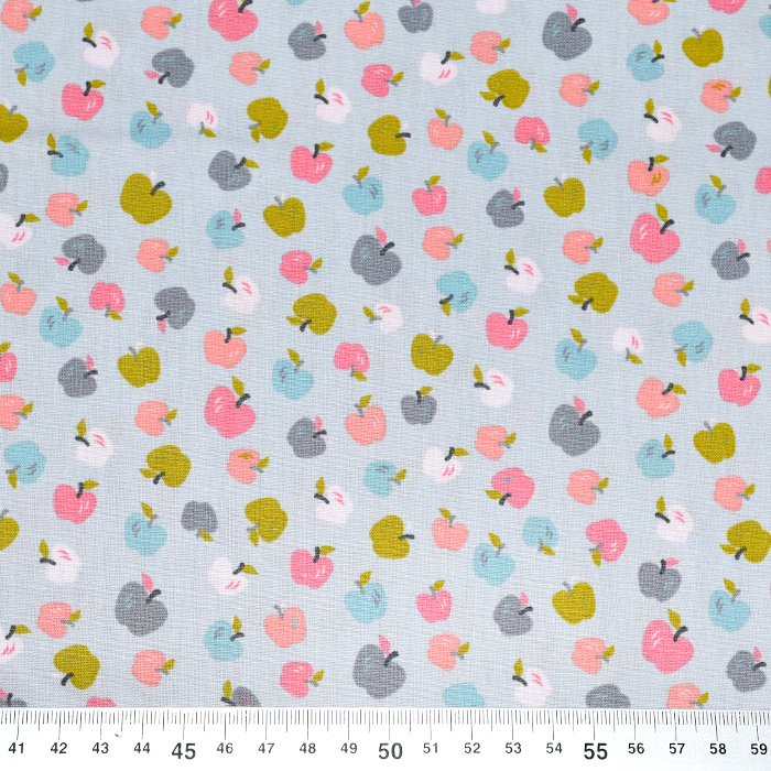Pamuk, popelin, voće, 21083-005, siva