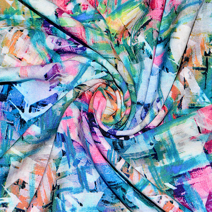 Tkanina, viskoza, abstraktni, 21077-004, modra