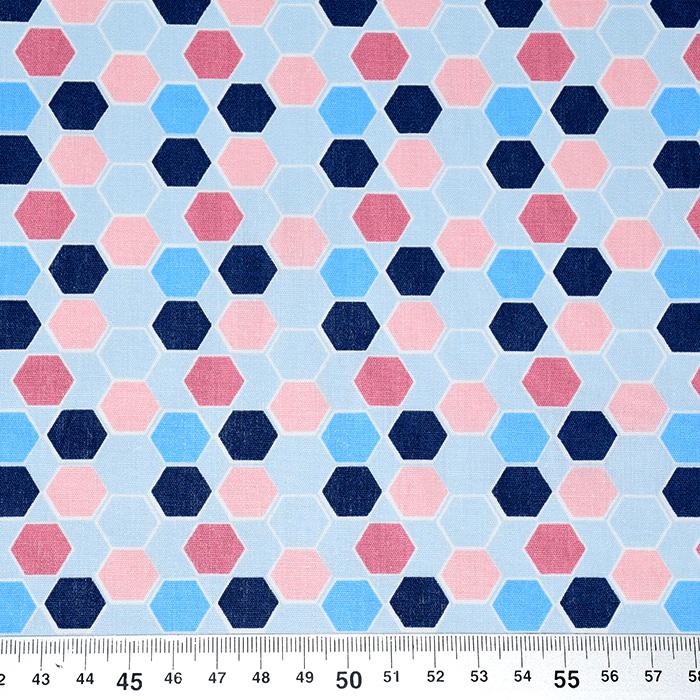 Bombaž, poplin, geometrijski, 21084-004, modra