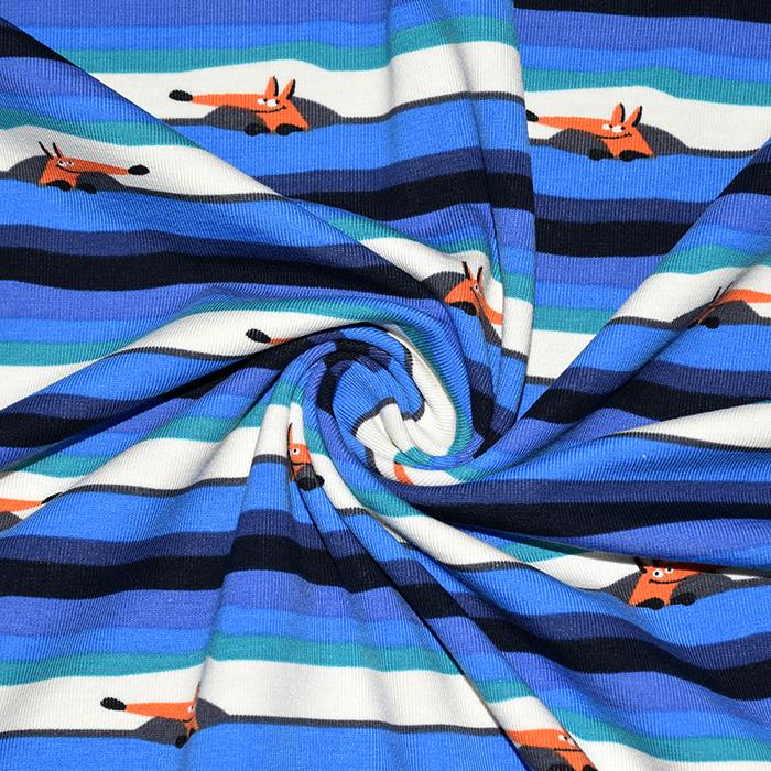 Jersey, bombaž, črte, 21206-63216, modra