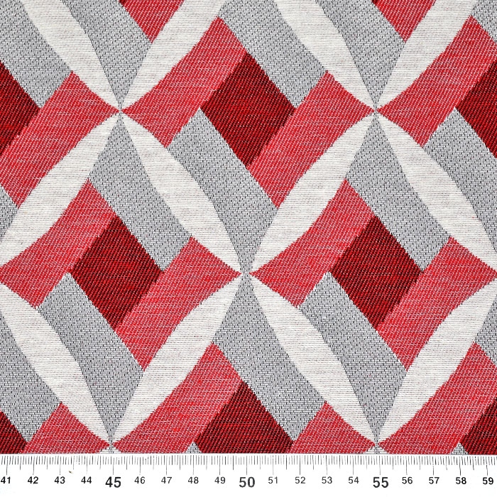 Deko žakard geometrijski, 21313-22, rdeča