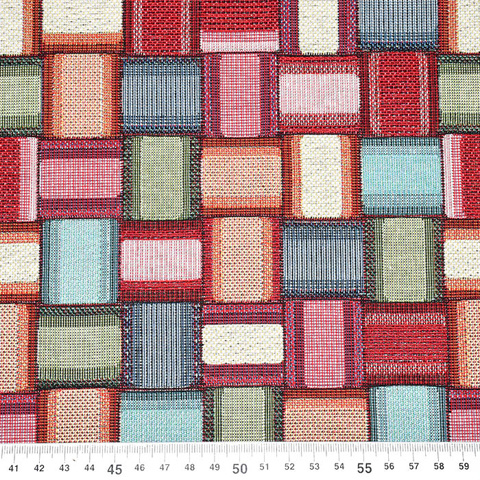 Deko žakard, geometrijski, 21322-29, rdeča