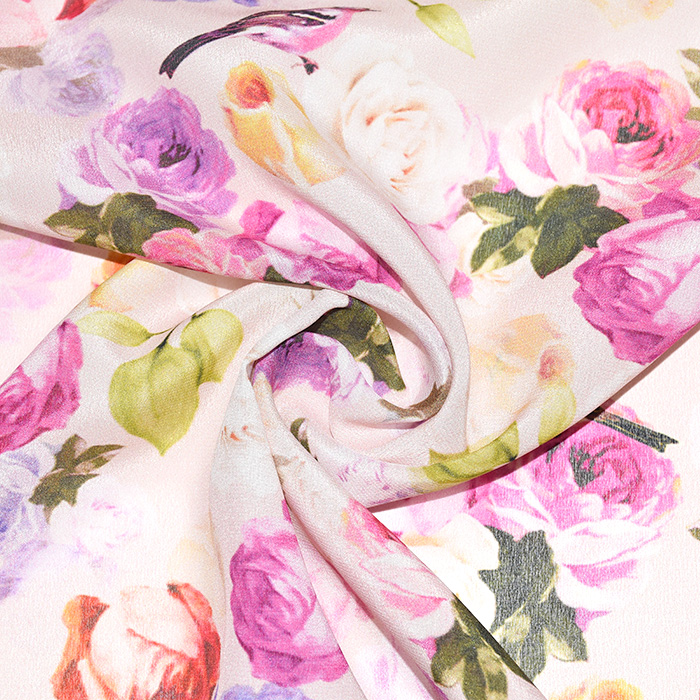 Svila, tisk, cvetlični, 21332-2