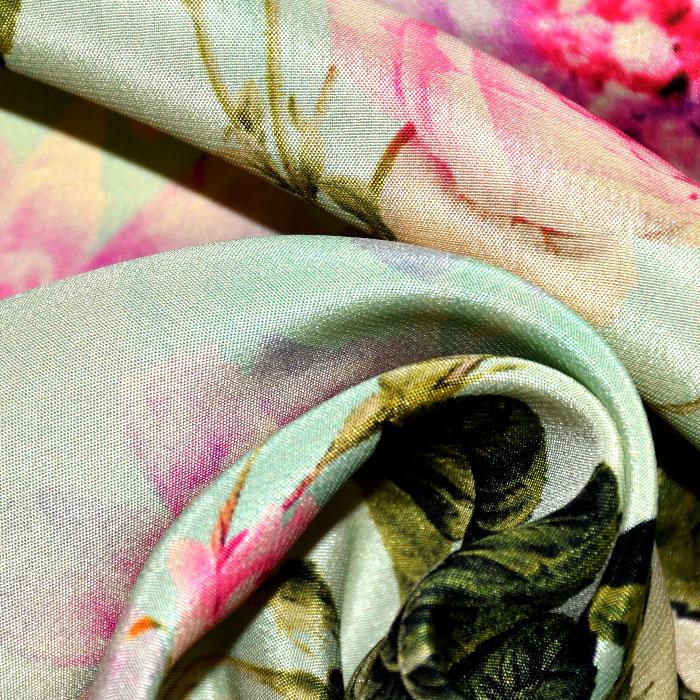 Svila, tisk, cvetlični, 21332-3