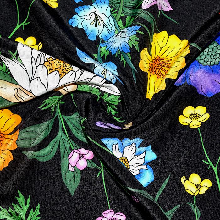 Svila, tisk, cvetlični, 21373-4