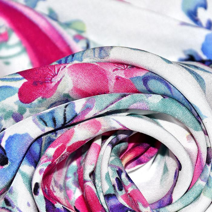 Tkanina, viskoza, cvetlični, 21412-001, belo roza