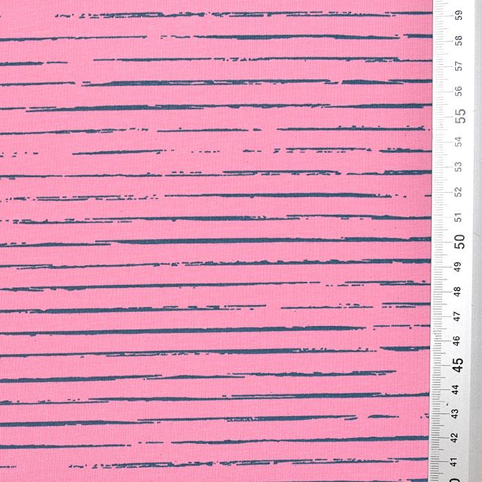 Jersey, bombaž, črte, 21432-15, roza