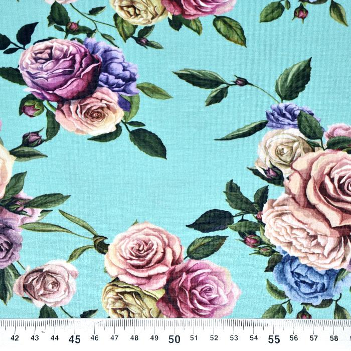 Jersey, bombaž, digital, cvetlični, 21445-6, mint