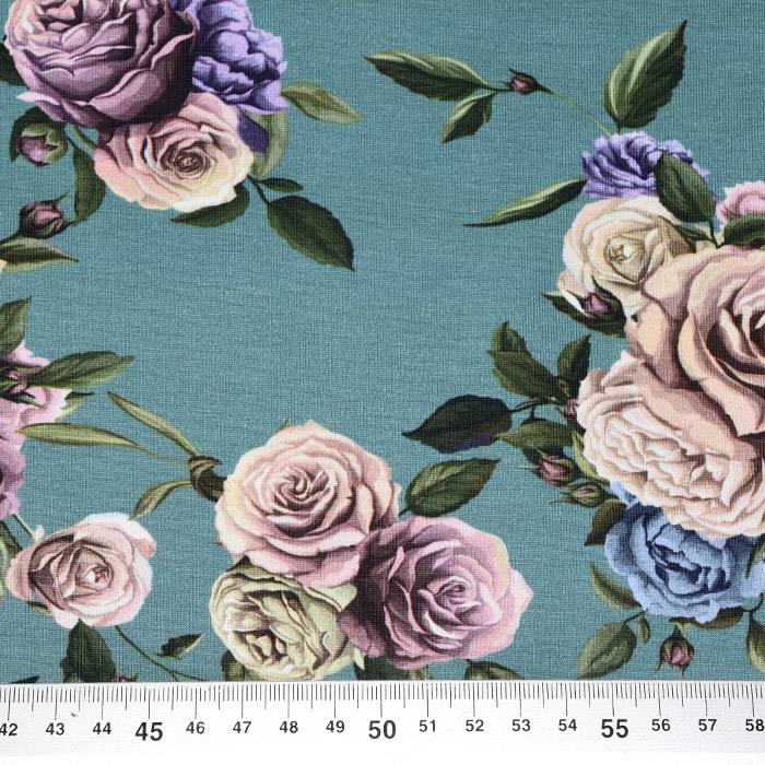 Jersey, bombaž, digital, cvetlični, 21445-10, zelena