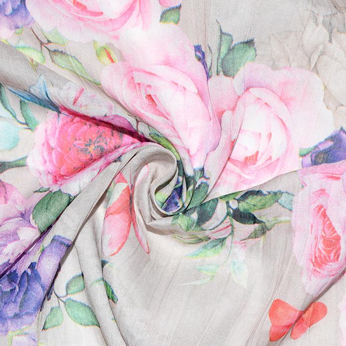 Bombaž, mečkanka, cvetlični, 20549-052, bež