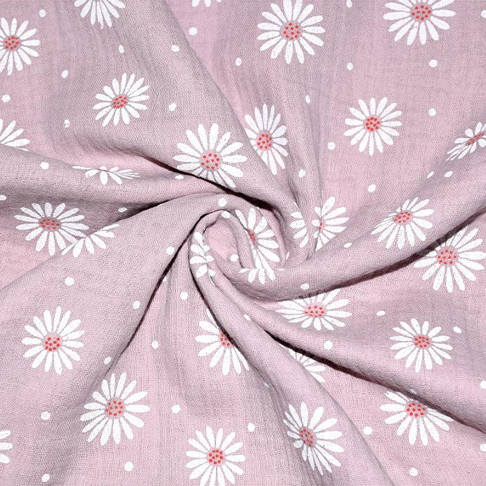 Tetra tkanina, dvojna, cvetlični, 21457-012, roza