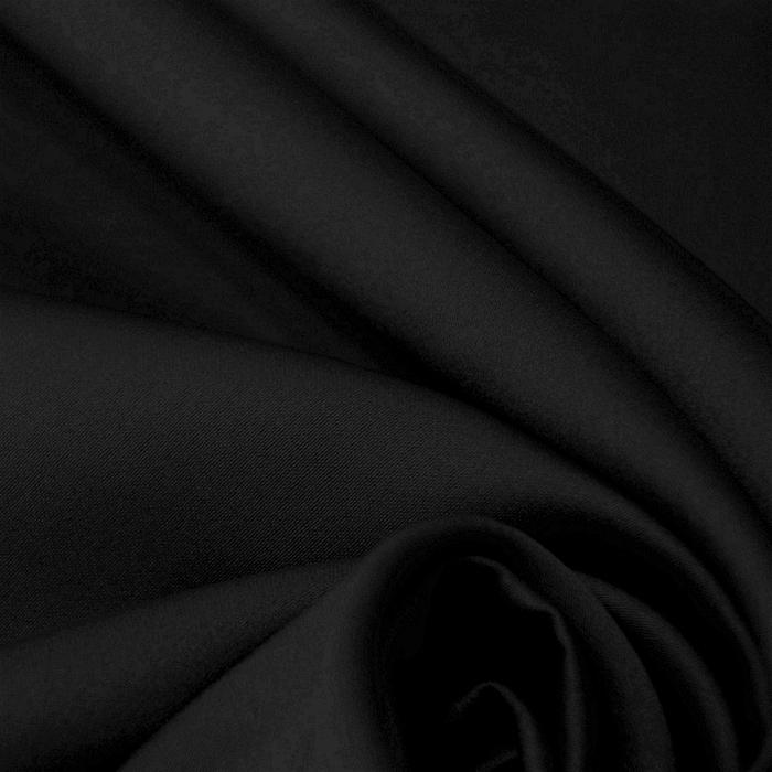 Saten tkanina z elastanom, 21484-5, črna