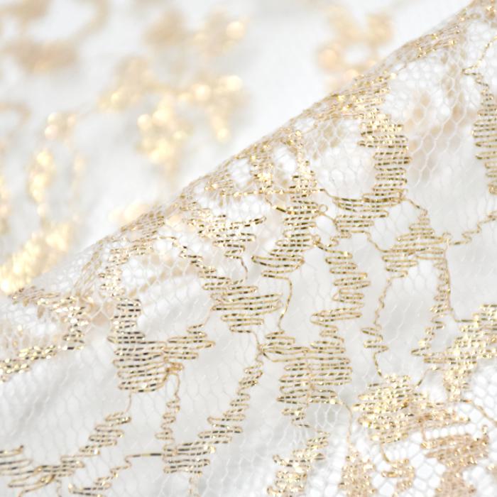 Čipka, elastična, cvetlični, 21501, zlato bela
