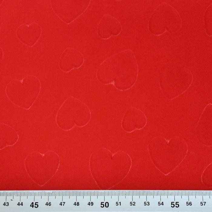Šifon, poliester, srčki, 21623-3, rdeča