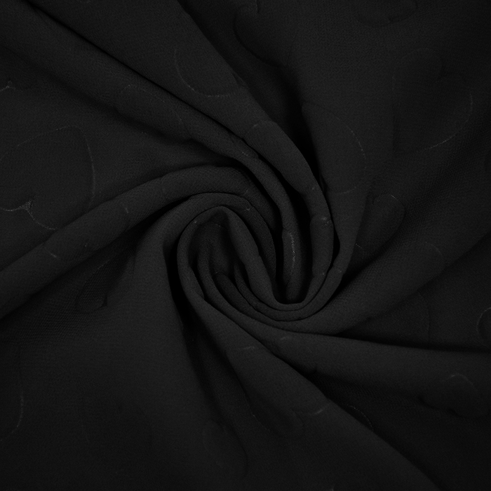 Šifon, poliester, srca, 21623-6, crna
