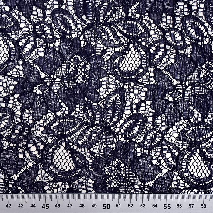 Čipka, cvetlični, 21625-5, temno modra