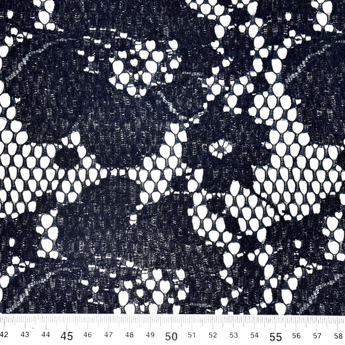 Čipka, elastična, cvetlični, 21628-1, temno modra