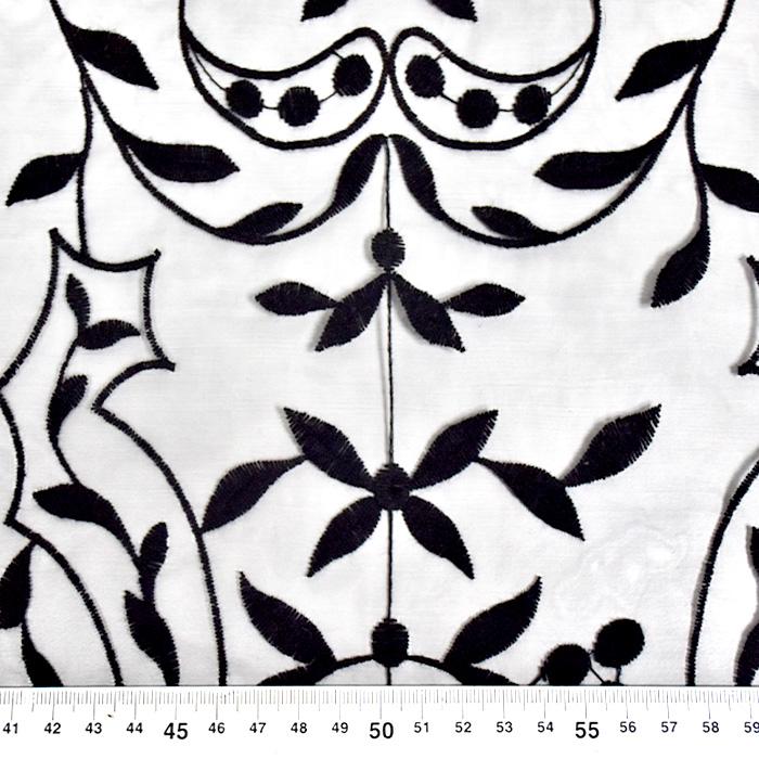 Organza, vezenina, ornamentni, 21637-5, črna
