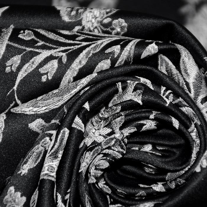 Žakard, obojestranski, cvetlični, 21645-1, črna