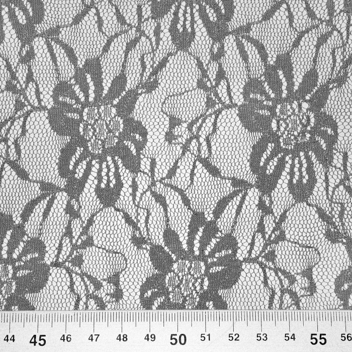 Čipka, elastična, cvetlični, 21658-054, siva