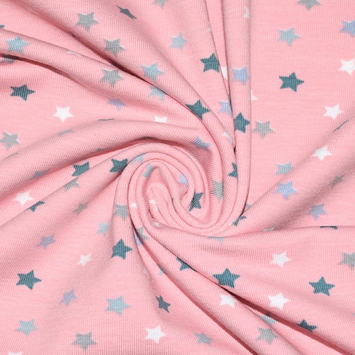 Jersey, bombaž, zvezdice, 21688-032, svetlo roza