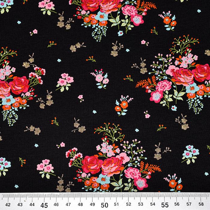 Jersey, pamuk, cvjetni, 21754-001, crna