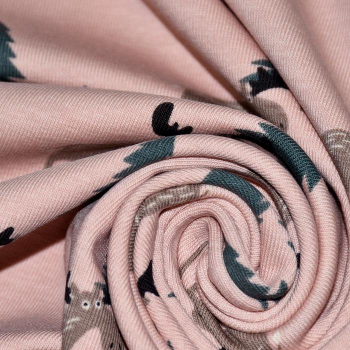 Jersey, bombaž, živalski, 21760-113, roza