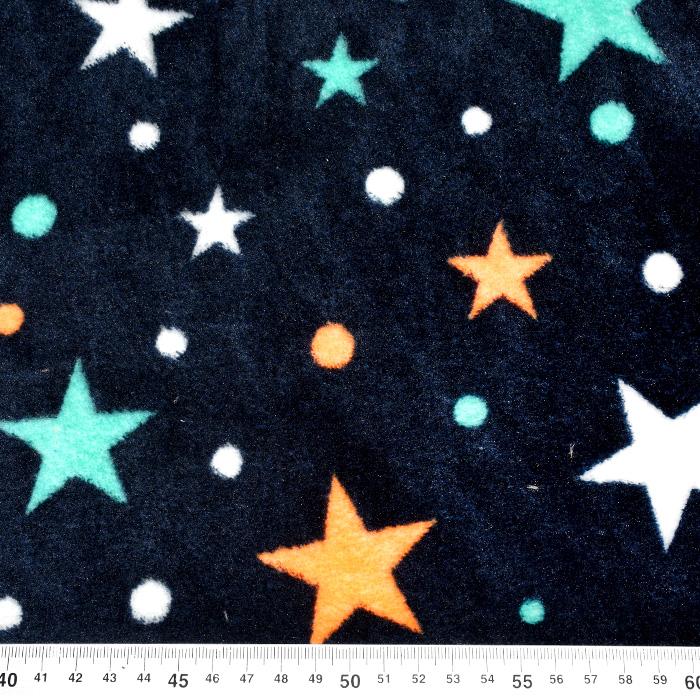Velur coral, obojestranski, zvezde, 21767-08, temno modra