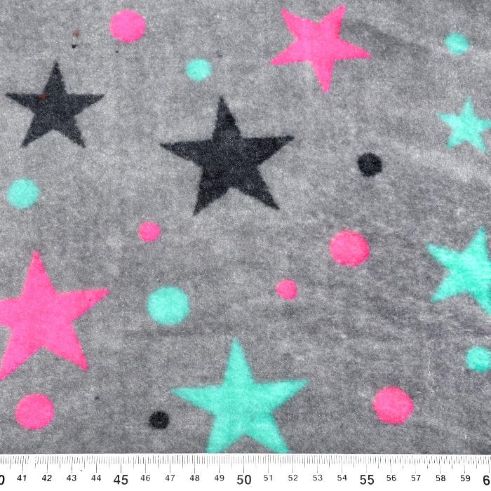 Velur coral, obojestranski, zvezde, 21767-461, siva